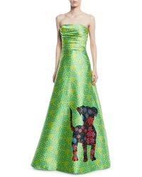 THEIA - Shisa Strapless Dog Dot Print Ball Gown - Lyst
