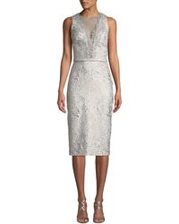 THEIA - Sleeveless Cloque Cocktail Dress W/ Metallic Lace - Lyst