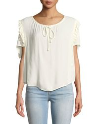 FRAME - Scoop-neck Ruffle Short-sleeve Top - Lyst