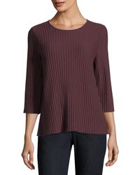 Eileen Fisher - 3/4-sleeve Fine-ribbed Wool Top - Lyst