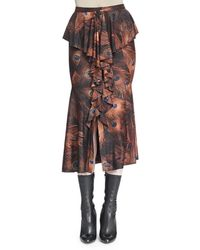 Givenchy - Vintage Peacock-print Cascading Ruffle Skirt - Lyst