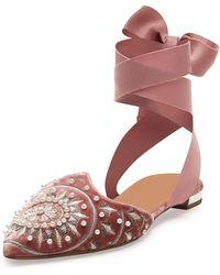 Aquazzura - Stellar Embellished Velvet Ankle-wrap Flat - Lyst