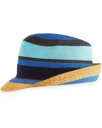 Etro - Tricolor Straw Fedora Hat - Lyst