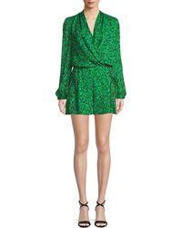 Diane von Furstenberg - Leopard-print Silk Chiffon Long-sleeve Romper - Lyst