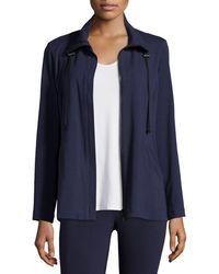 Eileen Fisher   High-collar Stretch Jersey Jacket   Lyst
