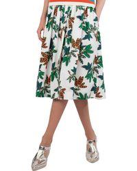 Akris Punto - Tropical-leaves Pleated Printed Midi Skirt - Lyst