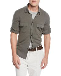 Brunello Cucinelli - Men's Western Shirt Cardigan - Lyst