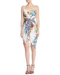 Aijek - Twisted Tank Dress In Floral-print Silk - Lyst