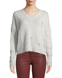 Autumn Cashmere - Distressed V-neck Boxy Cashmere Sweater - Lyst