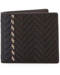 Ermenegildo Zegna - Men's Pelle Tessuta Bifold Wallet - Lyst