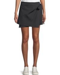 Theory | Wrap-tie Mini Skirt In Stretch Cotton | Lyst