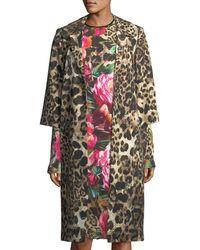 Naeem Khan - Leopard-print 3/4-sleeve Coat - Lyst