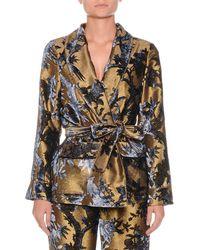 F.R.S For Restless Sleepers - Metallic Devore Foliage Applique Robe Top W/ Tie Waist - Lyst