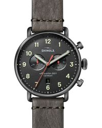 Shinola Canfield Chronograph Leather Strap Watch