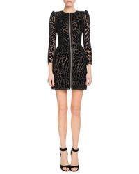 Givenchy - Chantilly Lace Leopard Zip-front Dress - Lyst