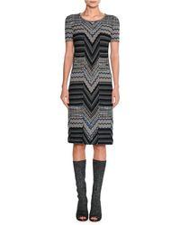 Missoni - Short-sleeve Patchwork Jacquard Dress - Lyst