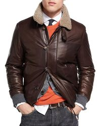 Brunello Cucinelli - Leather Jacket With Shearling Collar - Lyst