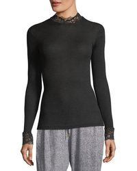 Hanro - Lillian Lace-trim Turtleneck Top - Lyst