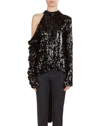 Magda Butrym - Oxford Sequined Cold-shoulder Top - Lyst