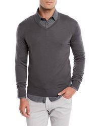 Giorgio Armani - Men's V-neck Wool Pullover Sweater - Lyst