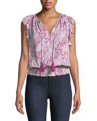 Ramy Brook - Donnie Printed Ruffle Blouson Top - Lyst