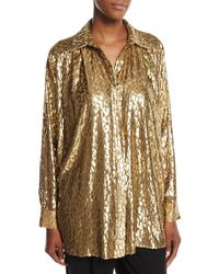 Michael Kors - Metallic Cheetah Fil Coupe Shirt - Lyst