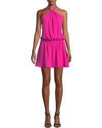 Amanda Uprichard - Australia Halter Blouson Mini Dress - Lyst