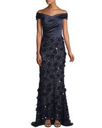 David Meister - Off-the-shoulder Satin & Beaded Gown - Lyst