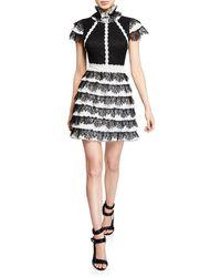 Alice + Olivia - Cyra Ruffle Trim Mini Dress - Lyst