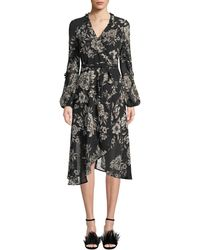 Bardot - Blouson-sleeve Floral-print Faux-wrap Dress - Lyst