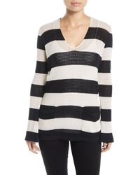 Minnie Rose - Striped Mesh Cotton/linen Sweater - Lyst