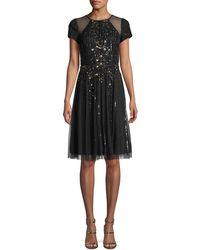 Aidan Mattox - Cap-sleeve Illusion Cocktail Dress W/ Embellishments - Lyst