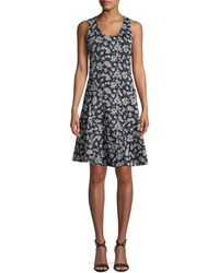 Derek Lam - Scoop-neck Sleeveless Fit-and-flare Floral-print Dress - Lyst
