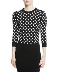 Michael Kors - Starlet Dot-intarsia Cashmere Crewneck 3/4-sleeve Sweater - Lyst