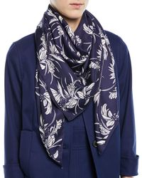 ESCADA   Tropical-print Silk Satin Square Scarf   Lyst