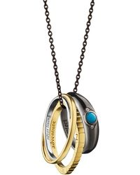 Monica Rich Kosann - 18k Yellow Gold And Sterling Silver Adventure Poesy Ring Necklace - Lyst