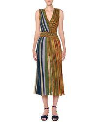 Missoni - V-neck Sleeveless Plisse Lamé Reversible Maxi Dress - Lyst