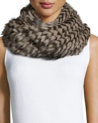 Monique Lhuillier | Knitted Rabbit Fur Check Infinity Scarf | Lyst