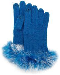 Neiman Marcus - Cashmere Tech Gloves W/fox Fur Cuff - Lyst