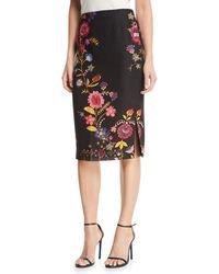 Fuzzi - Printed Cady Pencil Skirt - Lyst