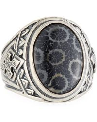 Konstantino - Heonos Men's Oval Black Coral Ring - Lyst