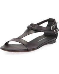 CoSTUME NATIONAL - T-Bar Leather Sandals - Lyst