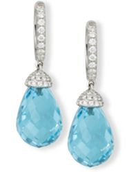 Rina Limor - 18k White Gold & Blue Topaz Briolette Earrings - Lyst