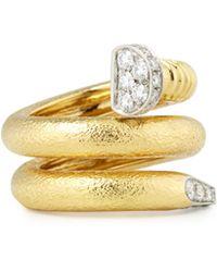 David Webb - 18k Diamond Hammered Nail-shaped Ring - Lyst