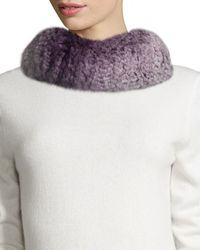 GP Luxe - Knitted Rabbit Fur Funnel Scarf - Lyst