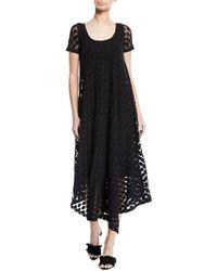 Fuzzi - Short-sleeve Asymmetric-hem Dotted Dress - Lyst