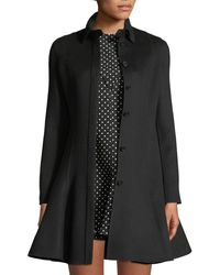 Valentino - Long-sleeve Button-front Flare Wool-cashmere Coat - Lyst