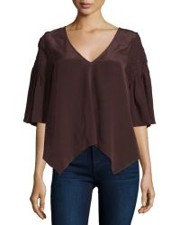 Tryb - Stacey Smocked-sleeve Georgette Top - Lyst