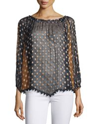 Tryb - Kayla Polka-dot Flocked Chiffon Peasant Top - Lyst
