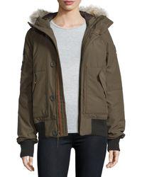 Sorel - Hooded Faille Caribou Bomber Jacket - Lyst